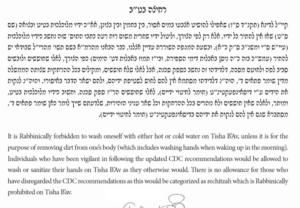 New Psak From Rabbi Shechter Regarding Washing Hands On Tisha B'Av 2