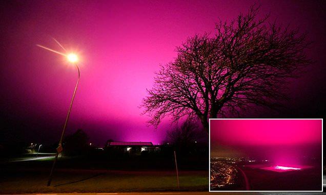 Sky Over Swedish Town Turns Purple At Night 1