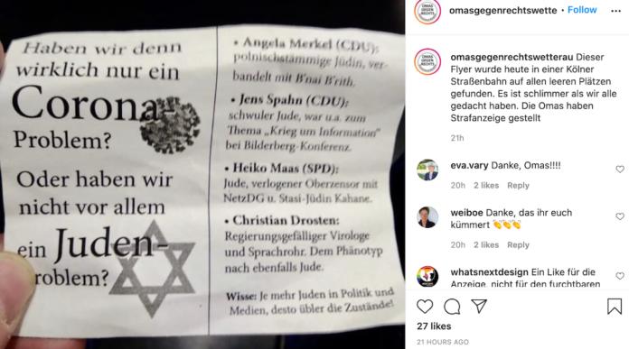 Anti-Semitic Flyer In German Tram Blames Jews For The COVID Pandemic 1
