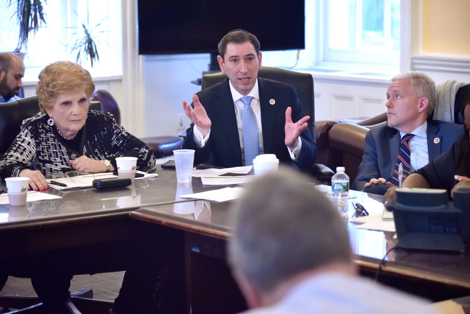 New York City Council member Chaim Deutsch shown at a budget negotiating team meeting in 2018. (John McCarten/New York City Council)