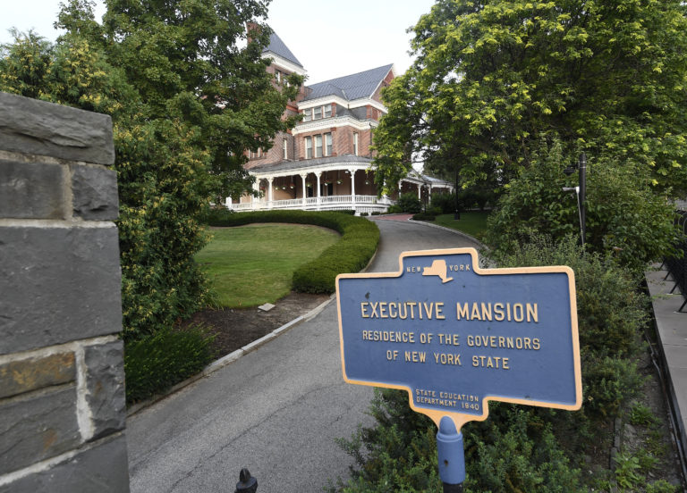 Exterior view of the New York state Executive Mansion, Saturday, Aug. 7, 2021, in Albany, N.Y. An investigation found that New York Gov. Andrew Cuomo sexually harassed multiple women in and out of state government. (AP Photo/Hans Pennink)