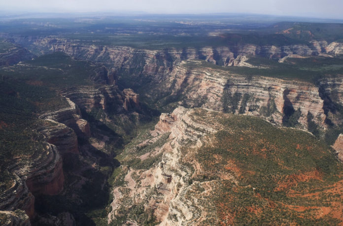 FILE - This May 8, 2017 aerial file photo shows Arch Canyon within Bears Ears National Monument on May 8, 2017, in Utah. President Joe Biden will expand two sprawling national monuments in Utah that have been at the center of a public lands tug-of-war that has played out over three presidential administrations, the state's governor said Thursday, Oct. 7, 2021. (Francisco Kjolseth/The Salt Lake Tribune via AP, File)